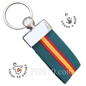 Llavero tela verde  bandera de España