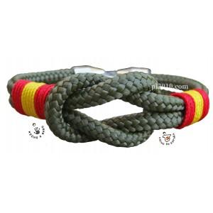 Pulsera bandera de España nudo marinero color verde militar